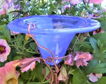 Garden Stake,  BUTTERFLY FEEDER, stained glass, copper, Cornflower BLUE, Garden Art, Bird Feeder, Copper garden
