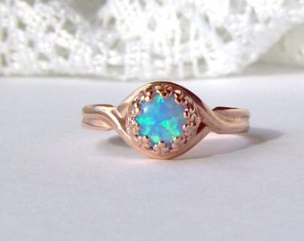 Rose gold lab blue opal adjustable crown ring / 6mm opal ring / promise ring / engagement ring / Mothers Day gift / girlfriend gift