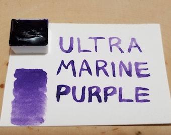 Ultramarine Purple half pan handmade watercolor paint