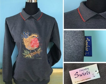 Bird Robin Sweater , Dark Grey charcoal sweater with collar detailed swirly embroidery designed by Sophie Appleton UK Popular artist