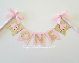 Pink and Gold Personalized Cake Topper with Elephant. Birthday Cake Topper, Smash Cake Topper, Photo Prop.  Little Peanut is One!