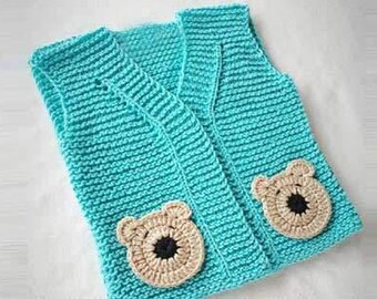 Kuzzy Design Baby Vest, turquoise bear detailed vest,knit clothes,knit baby vest,0-3month,3-6month,6-9month,9-12month,2/3/4/5/6/7 years
