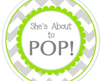 36 Baby Shower About to Pop labels, Gray and  Green Chevron, About to Pop Stickers, Baby Shower Labels