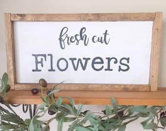 Signe de fleurs fraîches, pancarte murale fleur, enseigne de magasin de grande fleur, décor de style de cuisine, des fleurs fraîches, panneau de bois peint à la main