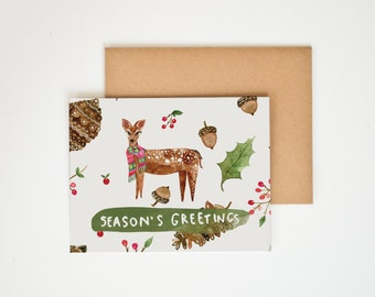 Season's Greeting, Watercolor Christmas Cards, Holiday Decor, Deer Antlers, Animal Prints, Nature Lover Gift, Winter Art, Meera Lee Patel