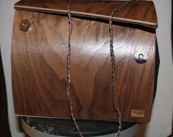 American Walnut wooden pouch bag