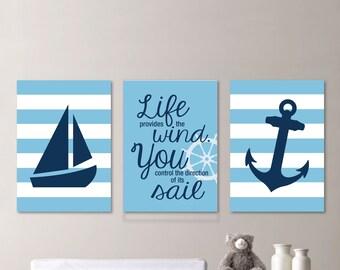 Baby Boy Nursery Art - Nautical Nursery Art Nautical Nursery Decor Nautical Bedroom - Light Blue and Navy Blue - You Pick the Size (NS-584)