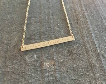 My Loves -- 14kgf Thin Horizontal Bar Mommy Necklace
