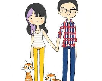 Custom Portrait/Custom Couples Portrait/Custom Family Portrait Original Illustration (Digital/Print It Yourself))