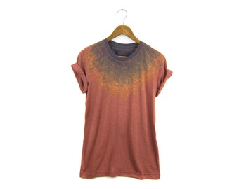 """The Original """"Splash Dyed"""" Hand PAINTED Crew Neck Pinned Rolled Cuffs Boyfriend Fit Tee in Vintage Rust Patina - Women's M-4XL"""