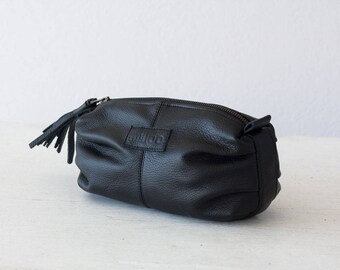 Black leather makeup bag, cosmetic case vanity storage accessory bag toiletry case zip pouch - Ariadne makeup bag