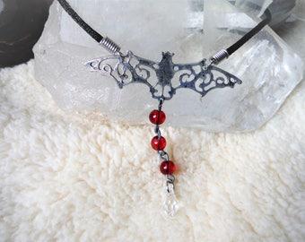 Vampire Bat Crystal Necklace