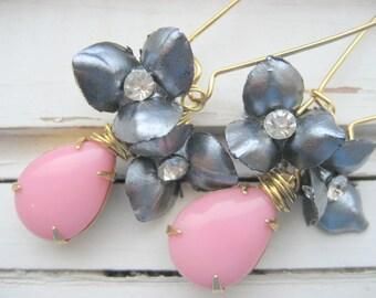 Boucles d'oreilles Marilyn, des années 50 mad style hommes, strass vintage, bijoux de vacances glam, les demoiselles d'honneur, accessoires de mariée