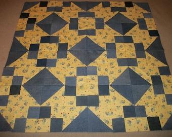 """Handmade Quilt Top~Turtle Quilt~Denim Quilt~Blue Jean Quilt~Old Maid Puzzle Quilt~Size 44"""" x 44"""""""