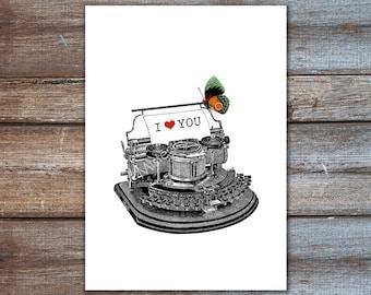 art print  typewriter I love you - typewriter art 8x10 A4 - wedding gift - love art print, drawing illustration