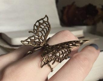 Aged Brass Filigree Butterfly Ring - Steampunk - Fantasy - Nature - Unique - Summer - Fall - September - Weddin - Bridal - Romantic