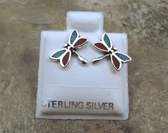 Sterling Silver and Turquoise Dragonfly Stud Earrings - 2622
