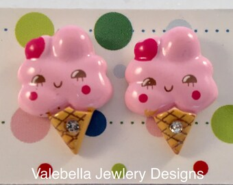 Earrings Cotton Candy surgical steel post earrings girls kids tween teen girl kawaii jewelry pair of earrings pink strawberry ice cream