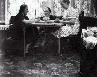 Vintage Snapshot 1930s Women Sit Table Playing CArd Game