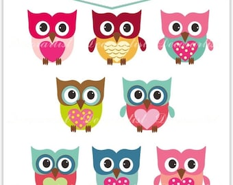 ON SALE Owls Clip Art. Owls, The Owls , Owl clipart, personnel and commercial use,Printable, Scrapbook,Cupcake Topper