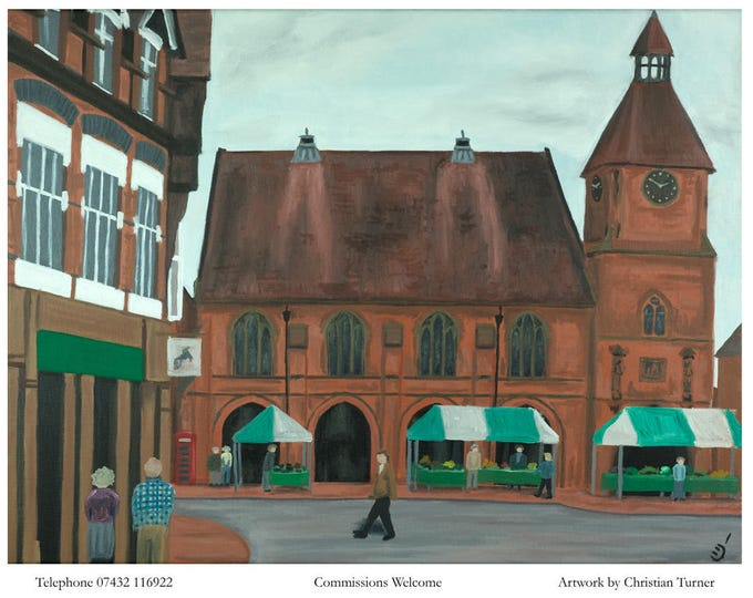 Sandbach Town Hall - original oil painting on linen canvas by Christian Turner