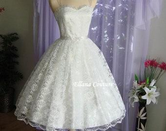Molly - Retro Style Wedding Dress. Tea Length Vintage Design.