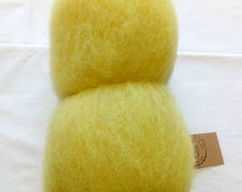 50g batt wool from Suffolkschaf for spinning or felting in yellow