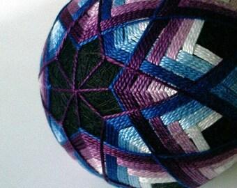 hand embroidered decorative thread balls - japanese temari - Jewel Diamond Temari