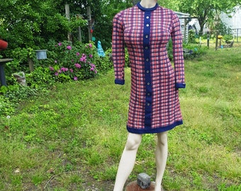 60s Dress, Sweater Dress, Red White and Blue, Vintage Dress, Gay Gibson, Fall Dress, Winter Dress, 60s Costume, Stage Costume. Plaid Dress