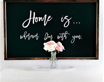 Home is wherever I'm with you hand crafted sign.