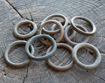 SET of 10 Ancient Bronze/Brass/Copper Rings Original old patina Rare Authentic artifact Archaeological Finds Primitive findings -Si8-