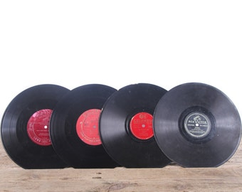 4 Vintage 78 Records / Colorful Vinyl Records / Antique Vinyl Records Decorations / Old Records / RCA Victor / Retro Music Party Decor