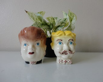 VINTAGE man woman couple pair WALL pocket PLANTERS - his hers decor - man and wife - hard to find planters - sold as found