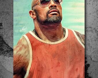 Dwayne Johnson, The Rock, Wrestler, Artwork, Handmade, Printable Art, Poster, Instant Download, Digital Print, Home Decor, Wall Art,Download