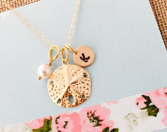 Sand dollar Necklace, Beach Necklace, Beach Wedding Necklace, Sand dollar Jewelry, Gold Sand Dollar