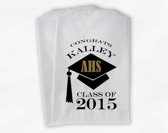 2018 Graduation Cap Personalized Candy Buffet Bags - Set of 25 Black & Gold High School Grad Party Custom Favor Bags in School Colors (0060)