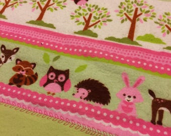 Pink Wilderness Animal Flannel Receiving Blanket
