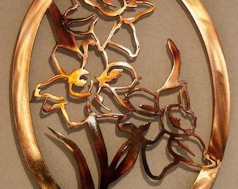 Daffodils,Metal Daffodil Art,Plasma Metal Art,Flowers, Woodland Nursery Art