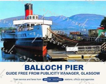 Vintage Style Railway Poster Balloch Loch Lomond  A3/A2 Print