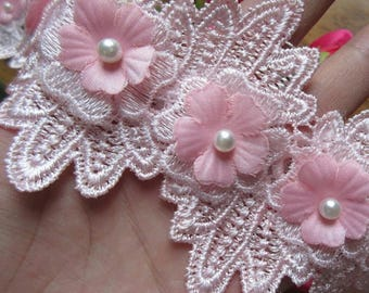 3 1/8 inch wide pink or white rose trim select 0.5 yard or 1 yard