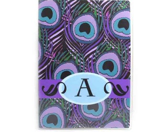 Personalized Passport cover - Purple Peacock - choose your initial - women's passport holder - customized gift