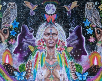 Large size signed Print of Rainbow Waters Destiny, visionary art