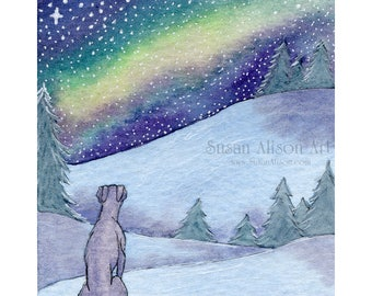 Greyhound Whippet dog 8x10 print silent night snowy landscape
