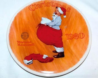 Vintage 1980 Norman Rockwell Christmas Collectors Plate - Scotty Plays Santa - Limited Edition and Numbered