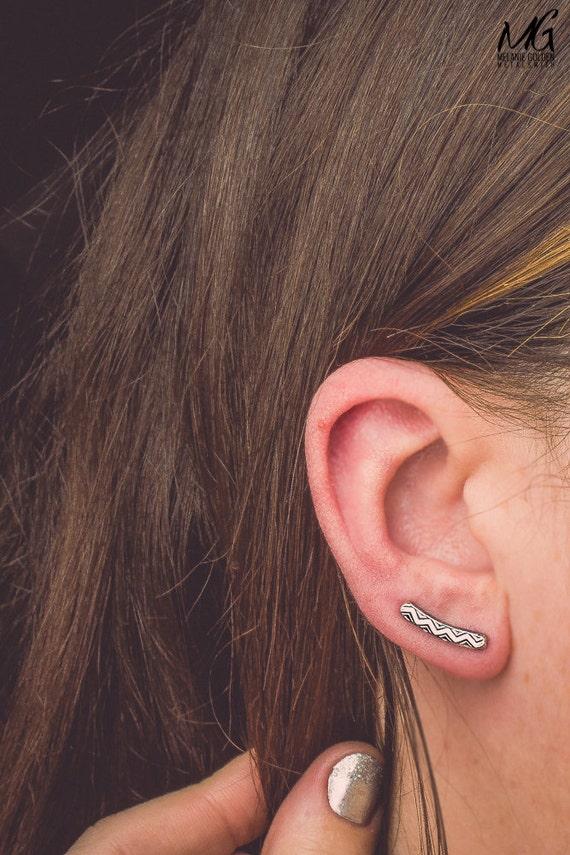 Chevron Ear Climbers - Pair of Sterling Silver ear crawler earrings - Line bar earrings with Zig Zag pattern - Unique ear pins