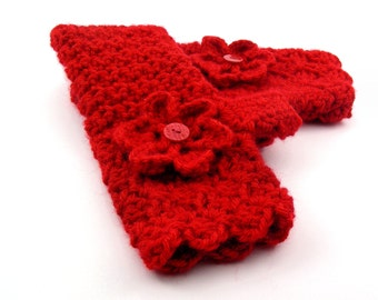 Christmas Red Crochet Fingerless Gloves with Flower, Flame Red Texting Gloves, Red Wristwarmers, GL127-01