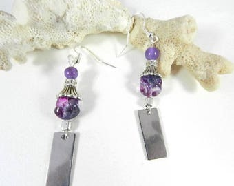 Silver earrings purple, Silver earrings purple, Silver earrings