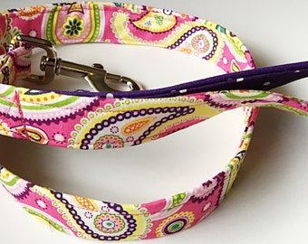 Pink and Purple Paisley Leash for Dogs or Cats