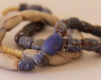 Vintage Dark Blue with White Mixed African Sandcast Beads - OASC 107
