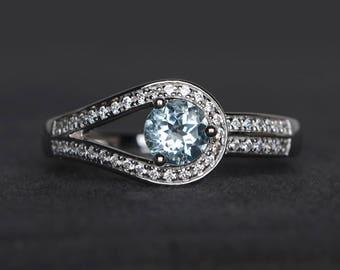 natural aquamarine ring wedding ring round cut blue gemstone March birthstone sterling silver ring